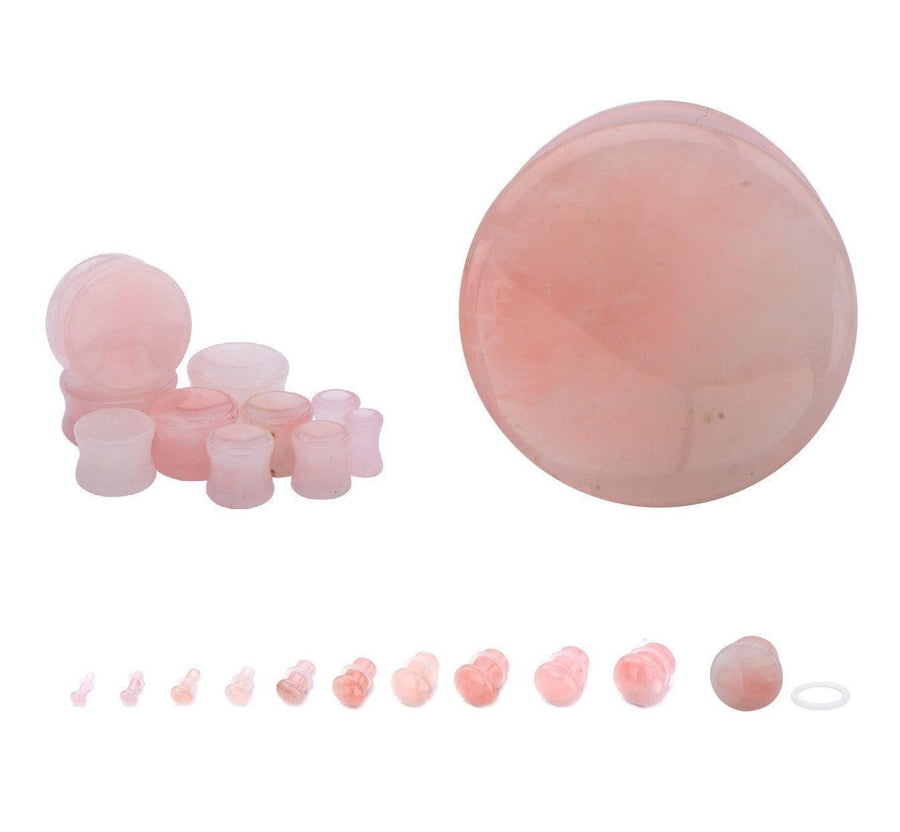 Rose Quartz Stone Plug Pair - Avanti Body Jewelry  - 1