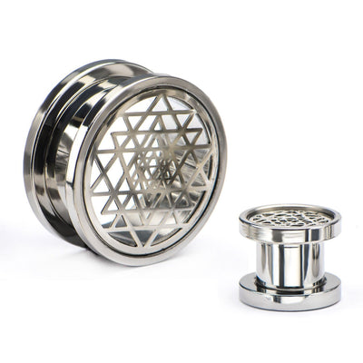 Sri Yantra Geometric Screw Fit Plug Pair - Avanti Body Jewelry  - 1