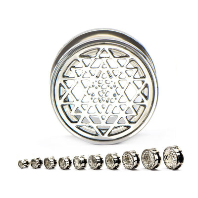 Sri Yantra Geometric Screw Fit Plug Pair - Avanti Body Jewelry  - 2