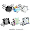 Prong-Set CZ Earring Studs with Steel Post - Avanti Body Jewelry