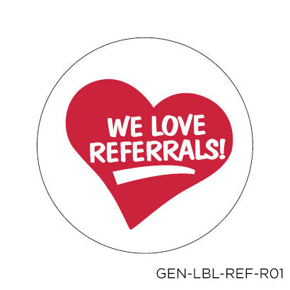 Love Referral Labels - Circle (96 pack)