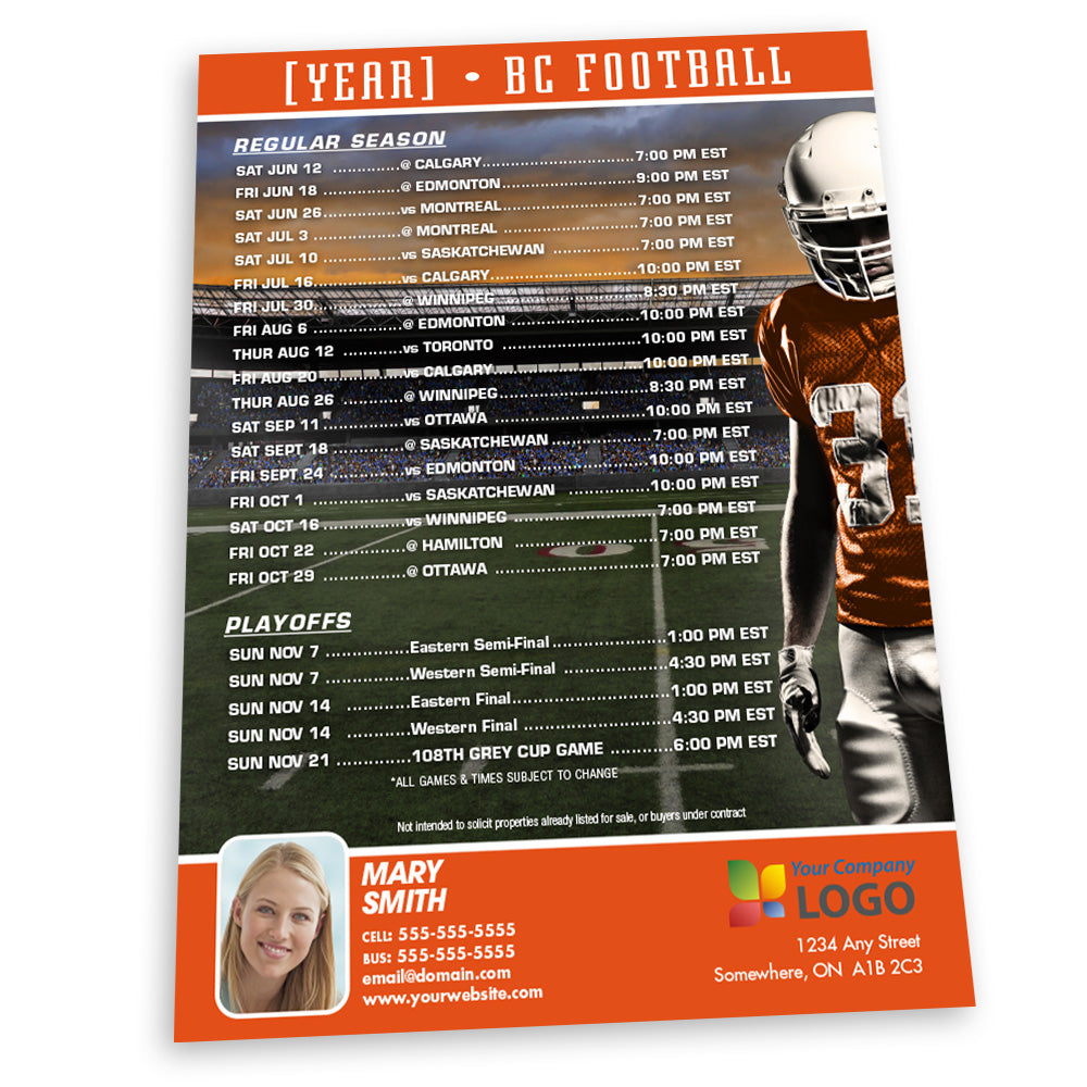 BC Football Team Schedule Thin Magnet