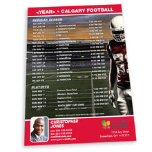 Load image into Gallery viewer, Calgary Football Team Schedule Postcard