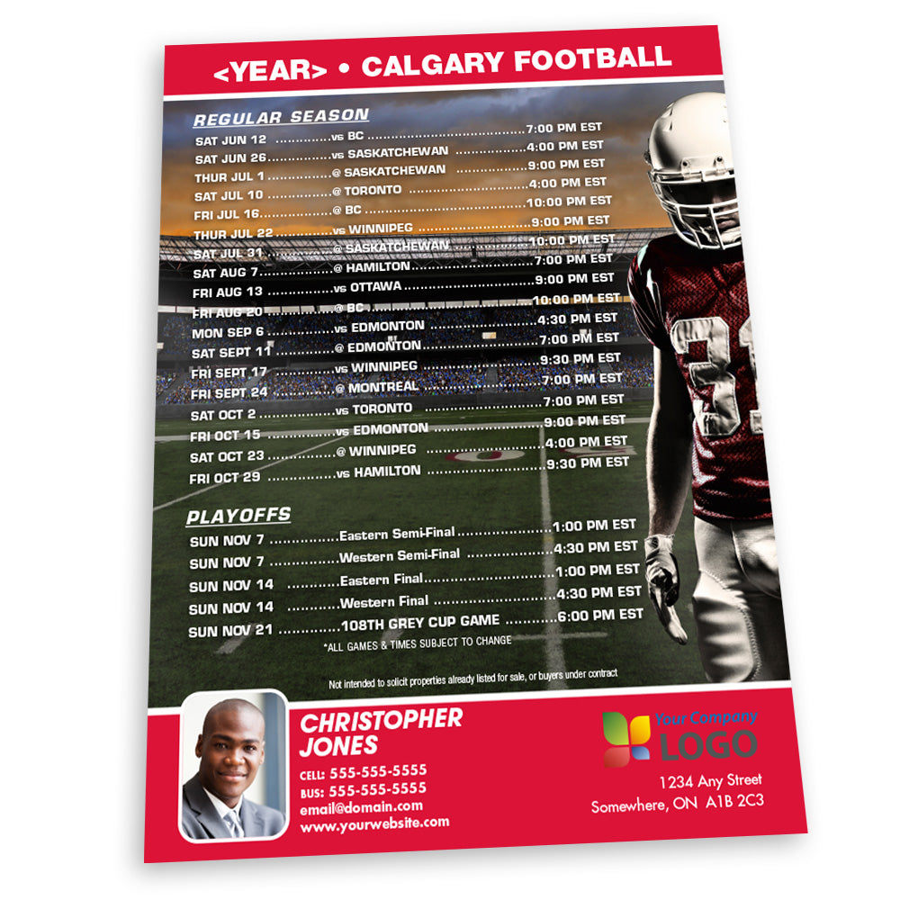 Calgary Football Team Schedule Thin Magnet