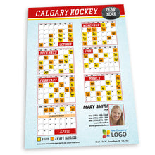 Load image into Gallery viewer, Calgary Hockey Team Schedule Postcard