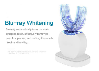 360 Electric Sonic Toothbrush Kit With LED Blu-Ray Teeth Whitening
