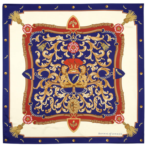 Aspinal Signature Silk Scarf Blue