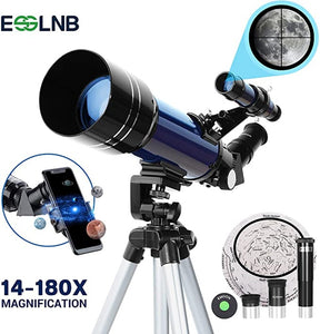 ESSLNB Telescope for Kids with Phone Adapter 70mm Beginners Telescopes for Astronomy with Adjustable Tripod 3X Barlow Lens
