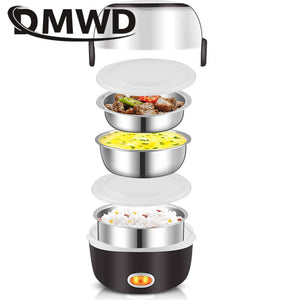 DMWD Mini Electric Rice Cooker Stainless Steel 2/3 Layers Steamer Portable Meal Thermal Heating Lunch Box Food Container Warmer