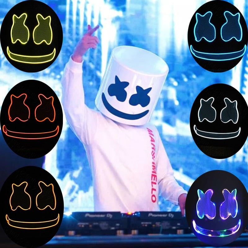 DJ Marshmallo LED Luminous Helmet Cosplay Props Unisex DIY Bar Music Party Marshmello Masks