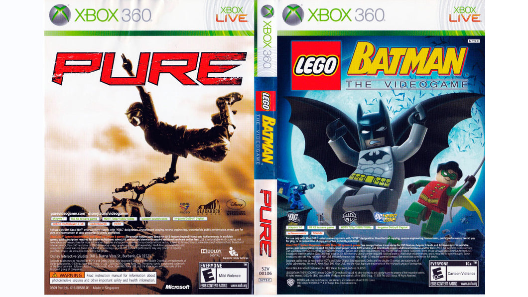 Xbox 360 - Pack Lego Batman + Pure (USADO)
