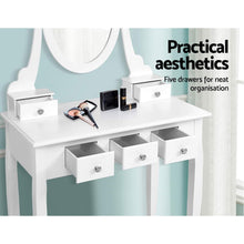 Load image into Gallery viewer, Artiss White Dressing Table With Stool and Mirror