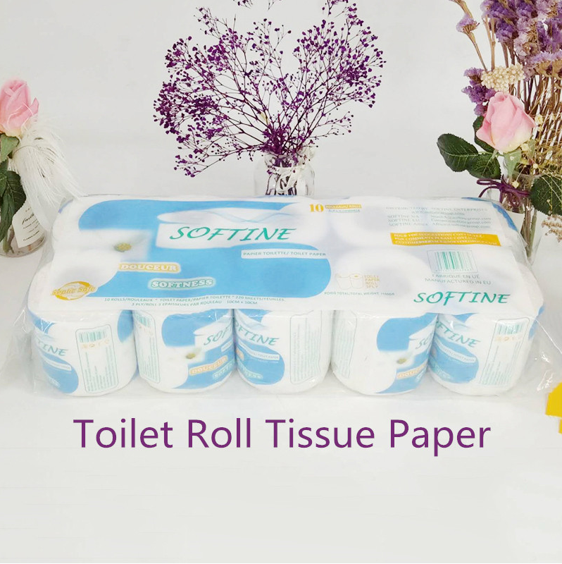 10 Rolls/Lot Toilet Roll Tissue Paper 3-ply Silky Smooth Soft Toilet Roll Tissue Paper Home Bath Toilet Roll Paper