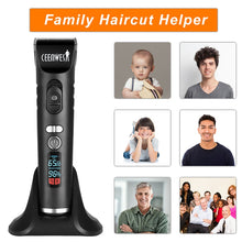 Load image into Gallery viewer, Ceenwes Rechargeable Hair Trimmer for Men Cordless Electric Clippers Hair Cutting Kit with 8 Guide Combs Including Charging Dock
