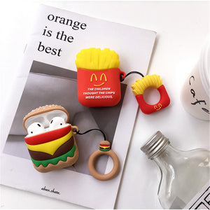 DTLeaf For Airpods Silicone Protective For AirPods Hamburger Popcorn Bluetooth Earphone Charger Box Cover Anti-lost Lanyard Gift - ColourMyLife