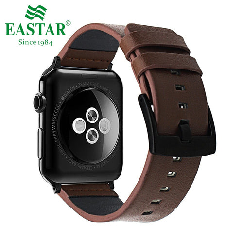 Eastar Black Genuine Leather Bracelet For Apple Watch 5 Band 42mm 38mm iWatch Watch Accessories For Apple Watch Strap Watchband - ColourMyLife