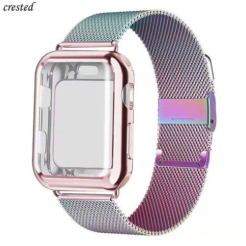 Case+strap for Apple Watch Band 44 mm 40mm iWatch band 42mm 38mm Stainless Steel Milanese Loop bracelet Apple watch 5 4 3 2 1 38 - ColourMyLife