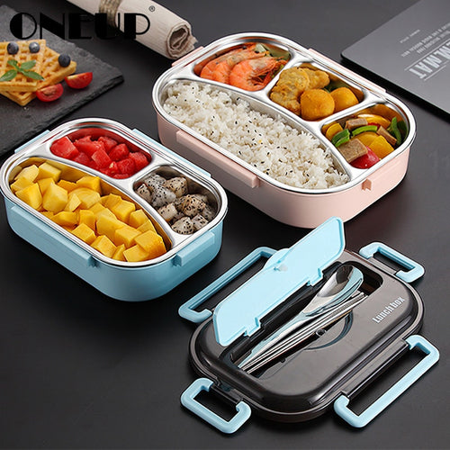 ONEUP Portable 304 Stainless Steel Lunch Box 2020 New Hot Japanese Style Compartment Bento Box Kitchen Leakproof Food Container - ColourMyLife