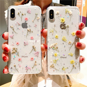 Real Dry Flower Glitter Clear Case For iPhone 8 7 Plus 6 6s Epoxy Star Transparent Case For iPhone X XR 11 Pro XS MAX Soft Cover - ColourMyLife