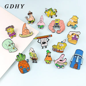 GDHY SpongeBob Anime Series brooch 16 Styles Sponge-bob Enamel Pins Sea stars Barnacle Boy Pineapple House For Kids Button Badge - ColourMyLife