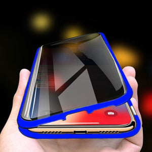 Magnetic Metal Adsorption Privacy Tempered Glass Case For iPhone 7 8 Plus 11 Pro XS Max XS X XR 6 6s 7 8 Double sided Case Cover - ColourMyLife