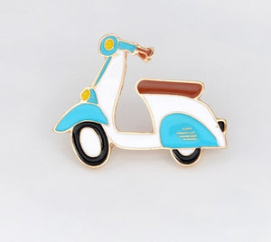 Creative Bicycle Electric Vehicle Car Enamel Brooch Planet Hot Air Balloon Rocket Spacecraft Airline Ticket Badge Cartoon Pin - ColourMyLife