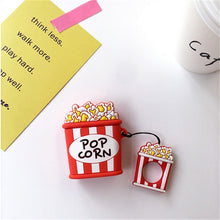 Load image into Gallery viewer, DTLeaf For Airpods Silicone Protective For AirPods Hamburger Popcorn Bluetooth Earphone Charger Box Cover Anti-lost Lanyard Gift - ColourMyLife