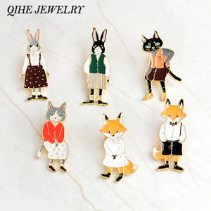 QIHE JEWELRY Pins and brooches Rabbit/Fox/Cat couple enamel pin Badges Hat Backpack Accessories Lovers jewelry Gift for lover - ColourMyLife