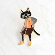 Load image into Gallery viewer, QIHE JEWELRY Pins and brooches Rabbit/Fox/Cat couple enamel pin Badges Hat Backpack Accessories Lovers jewelry Gift for lover - ColourMyLife