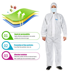 Isolation clothing protection against particles liquid spray Elastic design heat-seal protective clothing 1 PCS - ColourMyLife