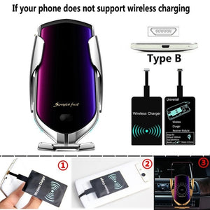 R1 Automatic Clamping 10W Wireless Charger Car Holder Smart Infrared Sensor Qi GPS Air Vent Mount Mobile Phone Bracket Stand - ColourMyLife