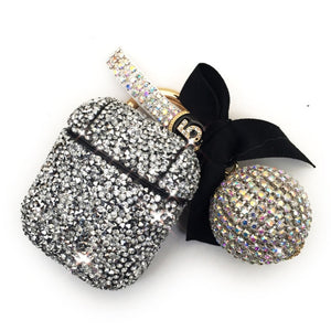 For Apple Airpods Case Luxury Diamond Rhinestone Case With Hanging Ball Keychain Charging Box Protector Covers For Airpods2 case - ColourMyLife