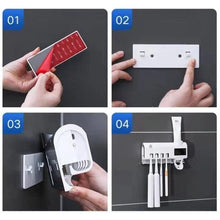 Load image into Gallery viewer, UV Toothbrush Sanitizer Holders Solar Powered Wall Mount with Toothpaste Dispenser MU8669 - ColourMyLife