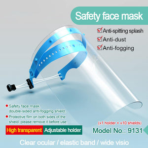 Safety Face Cover Protection Oil-Splash Saliva Proof Mask Dust Respiratory Tract Protective Mask With 10Pcs Shield Replacement