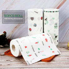 Load image into Gallery viewer, 50Pcs/Roll Kitchen Thick Tissue Dry and Wet Non-woven Dishcloth Printing Paper Disposable Washable Home Kitchen Cleaning Paper