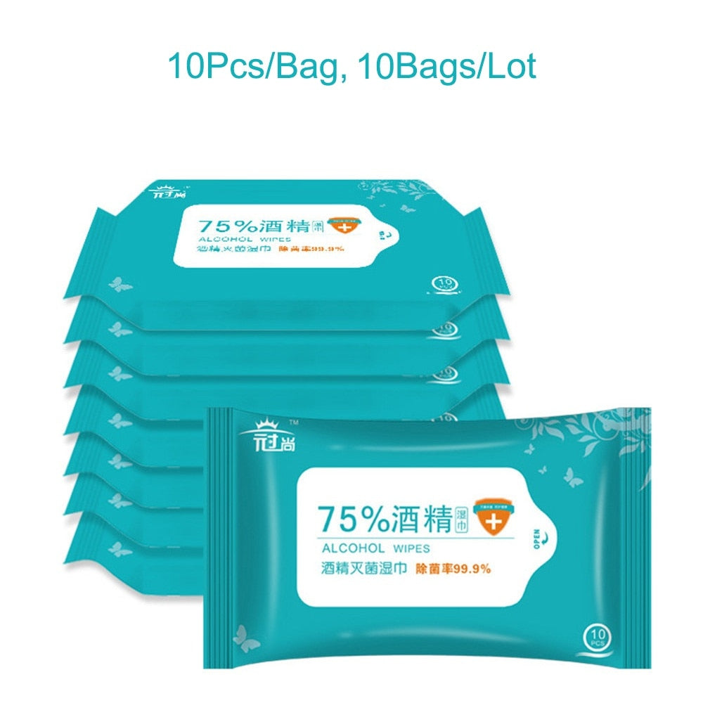 100PCS Portable Disinfection Antiseptic Pads Alcohol Swabs Wet Wipes Skin Cleaning Care Sterilization First Aid Cleaning Tissue