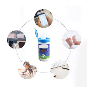 60 Pcs/Bottle Disposable Alcohol Wet Wipes Antiseptic Cleanser Cleaning Sterilization For Hand Face Toys Cleansing Wet Wipes