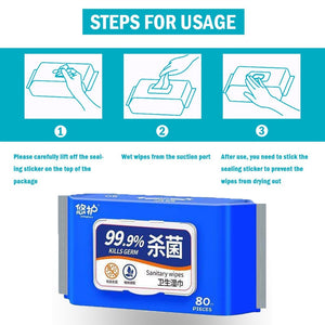 80 wipes/pack Portable Disinfection Antiseptic Pads Alcohol-Free Swabs Wet Wipes Tissue Skin Cleaning Sterilization Health Care
