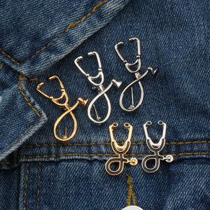 High Quality 2 Style Brooches Doctor Nurse Stethoscope Brooch Medical Jewelry Enamel Pin Denim Jackets Collar Badge Pins Button - ColourMyLife