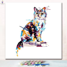 Load image into Gallery viewer, paintings by numbers diy cut cat On the pillow paints pictures by numbers on canvas animals cats for hoom room wall decor - ColourMyLife