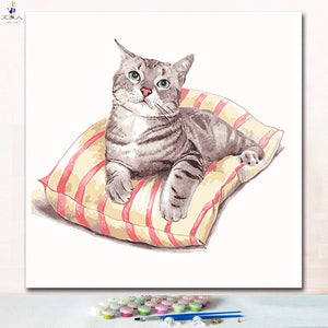 paintings by numbers diy cut cat On the pillow paints pictures by numbers on canvas animals cats for hoom room wall decor - ColourMyLife