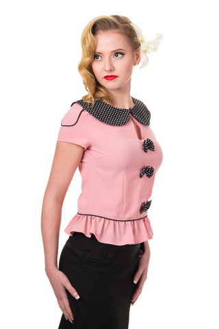 Ladies Top - Banned Between the Lines Pink