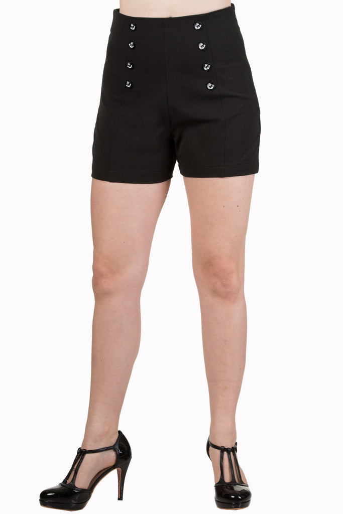 Banned Clothing - Shorts Stay Awhile Black