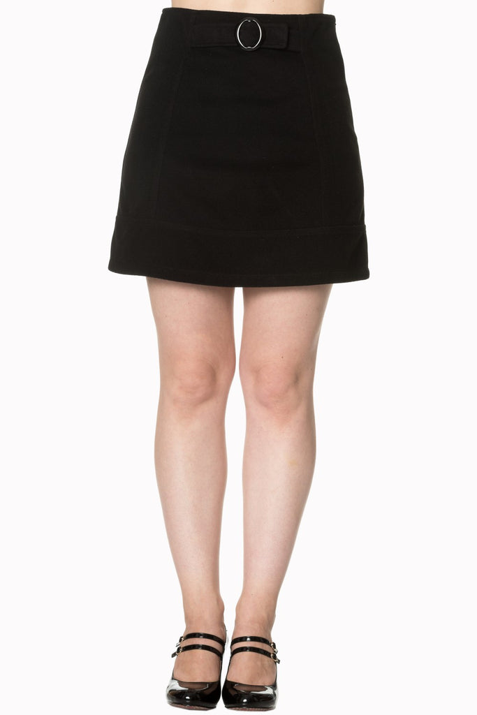 Banned Clothing - Dare to Wear buckle Skirt Black SALE ITEM NO RETURNS