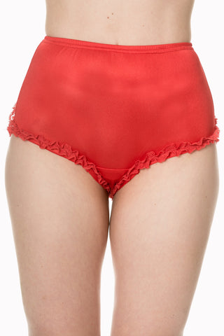 Banned Clothing - Ladies Frilly Knickers Red
