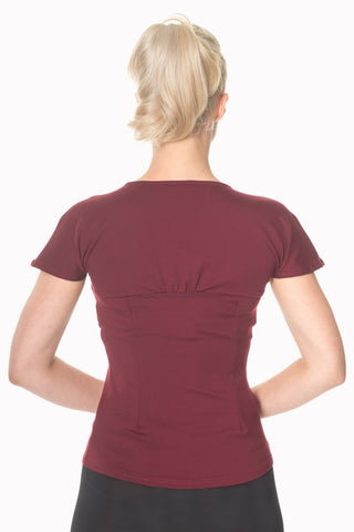 Banned Clothing - Top She who Dares Burgundy