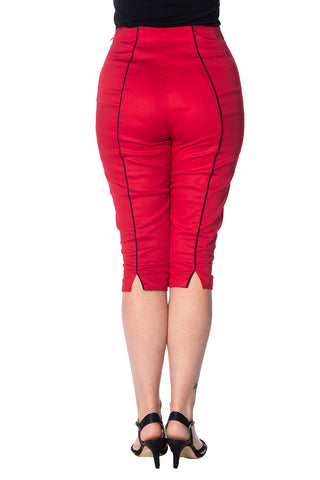 Banned Rockin Red Ladies Capris|Poisonkandyklothing