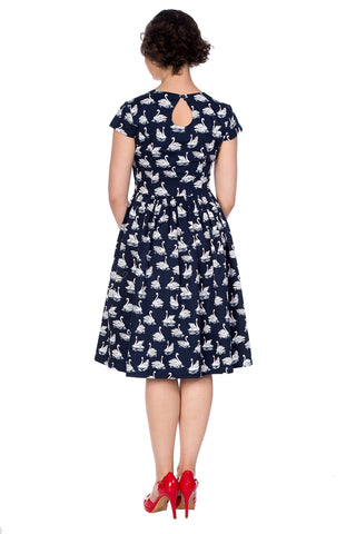 Banned - Summer Swan Sleeve fit Dress Navy|Poisonkandyklothing