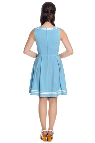 Hell Bunny Sailor Ruin Dress Pastel Blue