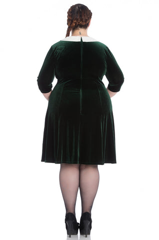 Hell Bunny Merrily Mini Dress Dark Plus Size Green|Poisonkandyklothing